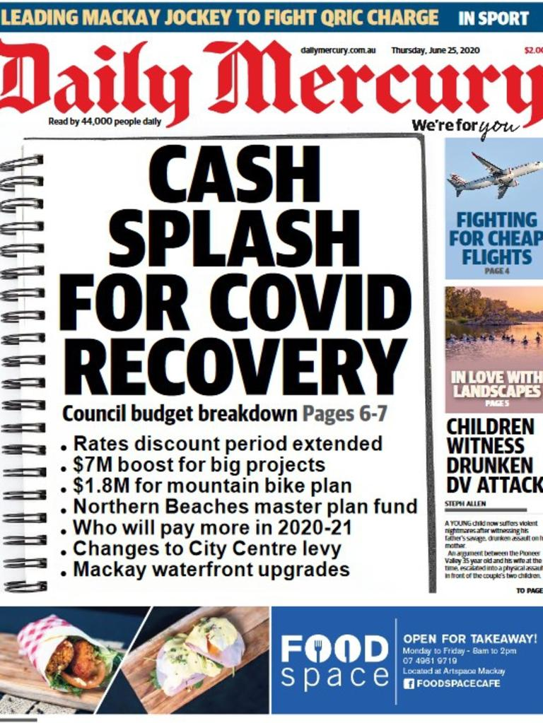 Mackay Daily Mercury front page June 25, 2020. Covid recovery.