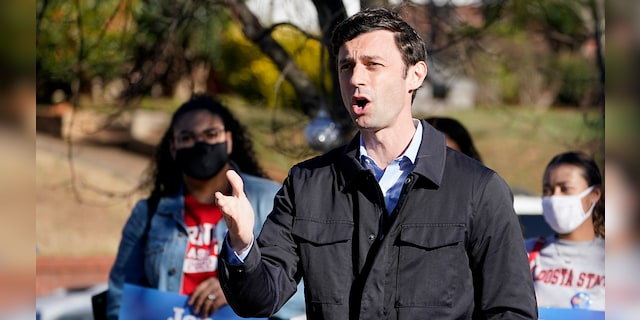 Democratic nominee for U.S. Senate from Georgia Jon Ossoff speaks after voting early in Atlanta on Tuesday, Dec. 22, 2020. For the second time in three years, Ossoff is campaigning in overtime. The question is whether the 33-year-old Democrat can deliver a win in a crucial Jan. 5 runoff with Republican Sen. David Perdue. (AP Photo/John Bazemore)
