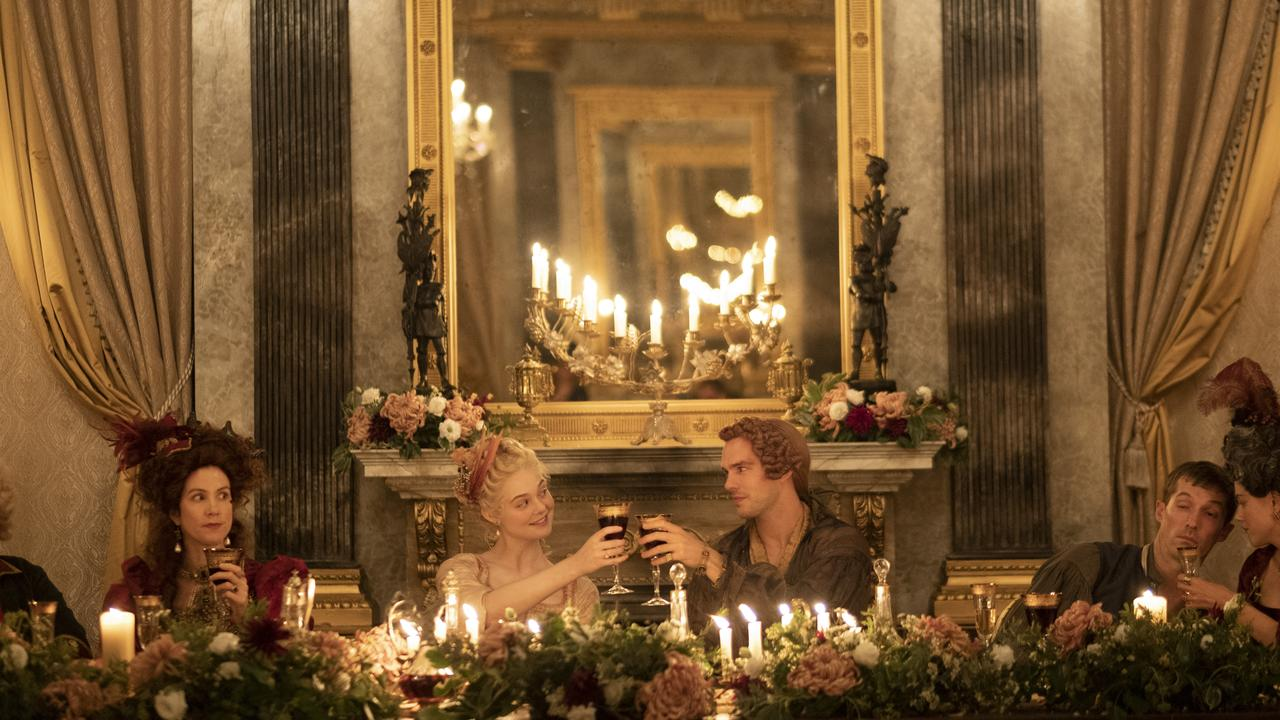 Belinda Bromilow, Elle Fanning, Nicholas Hoult, Gwilym Lee and Charity Wakefield in a scene from the TV series The Great. Supplied by Stan.