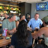 WA Premier Mark McGowan talks to Karratha locals at the Grand Central Tavern in Nickol.