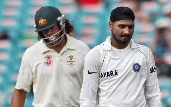Andrew Symonds and Harbhajan Singh at the SCG in 2008.