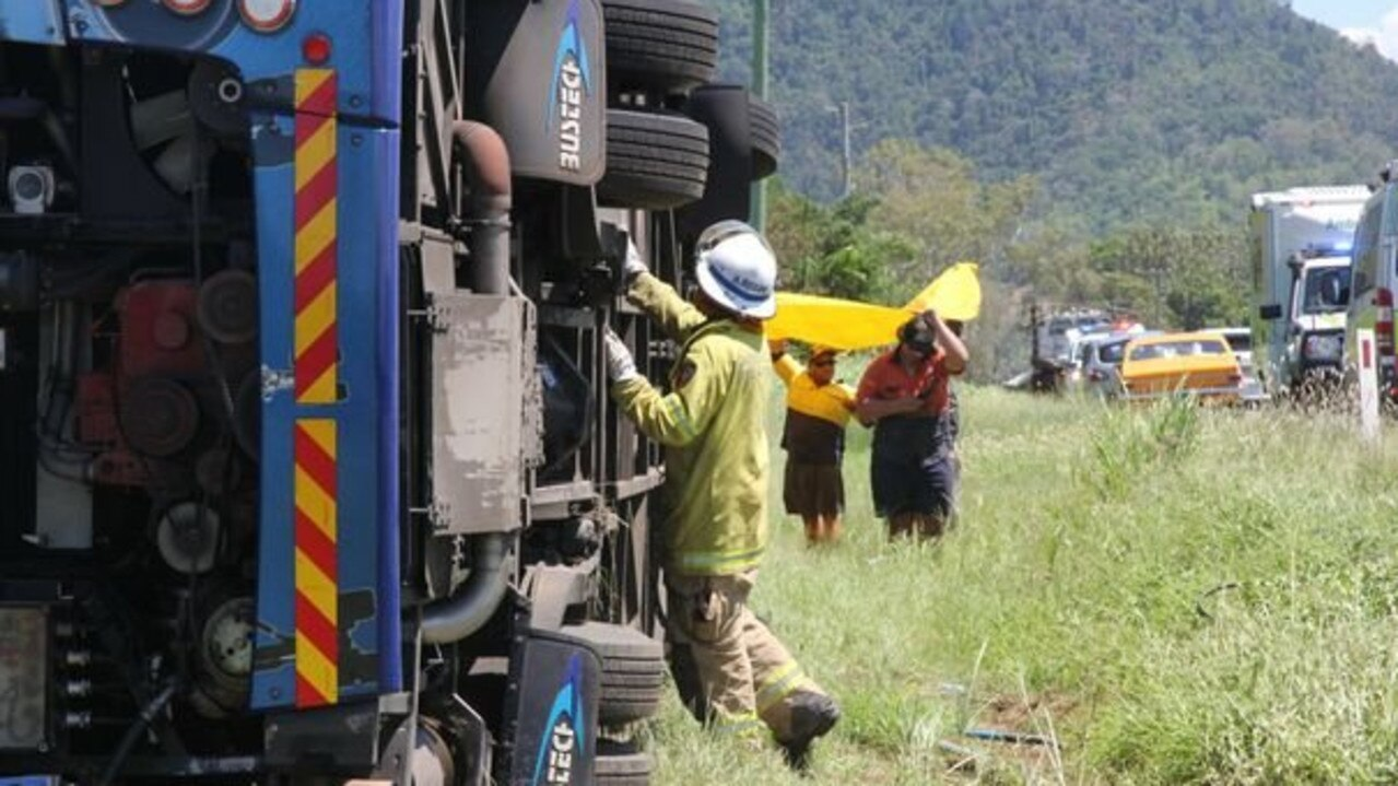 The scene of the fatal bus crash at Cannon Valley on Shute Harbour Road.