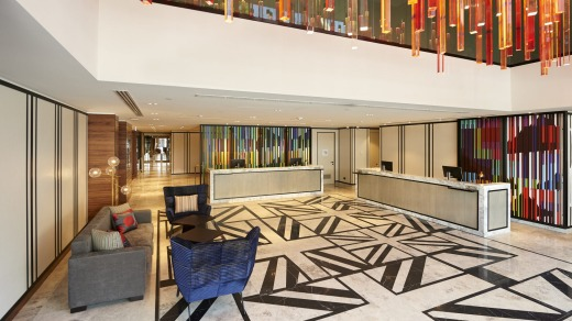 The lobby at Northbridge's DoubleTree by Hilton sets a playful tone.