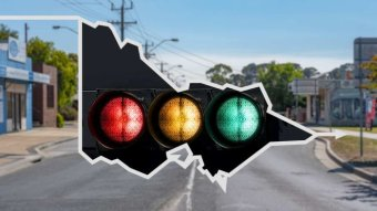 An image of red, amber and green traffic lights on a map of Victoria, against a backdrop of regional Victoria.