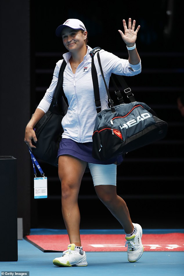 Top seed Ash Barty (pictured) will be out to end another Australian's run when she takes on Daria Gavrilova in the second round of the Open on Thursday afternoon