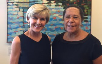 Outgoing secretary-general of the Pacific Islands Forum Meg Taylor with former foreign affairs minister Julie Bishop.