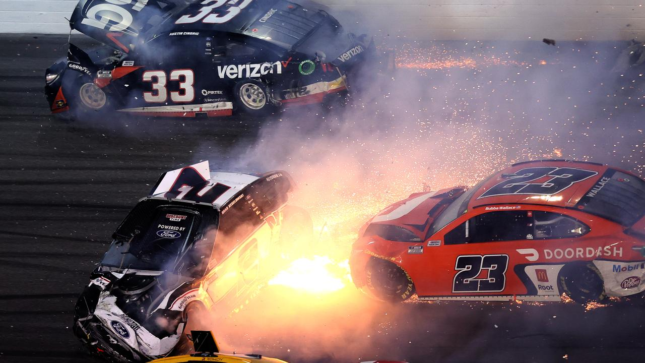 Brad Keselowski, Bubba Wallace, Kyle Busch and Austin Cindri are involved in an on-track incident. (Photo by James Gilbert/Getty Images)