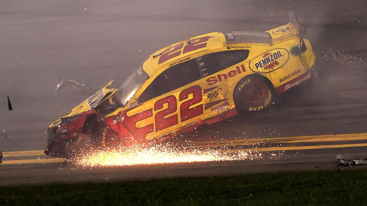 Joey Logano spins after an on-track crash. James Gilbert/Getty Images/AFP