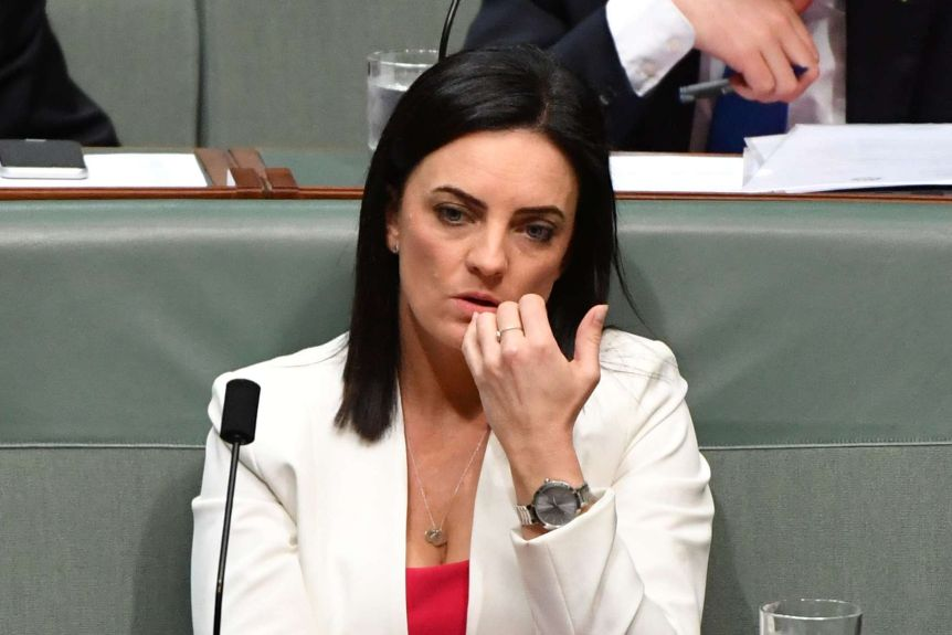 Emma Husar sitting in the House of Representatives with a neutral expression.