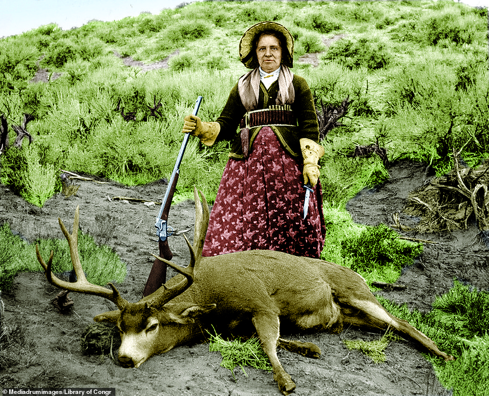 Augusta 'Gusty' Higgins Farnham was one of the earliest female hunters in the western territories. This image of her, included in the new book was taken in Denver, Colorado, in 1898 and shows her standing above the corpse of a deer that she has killed. In her right hand she shows off the gun she used to kill the deer and in her other hand she is holding a knife. Colorado sitswhere the Great Plains meet the Rocky Mountains, which gives the state a diverse amount of areas for wildlife to roam, and made it the perfect place to hunt for sources of food