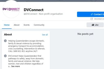 Domestic violence service DVConnect's Facebook page was also swept up in the shut-down.