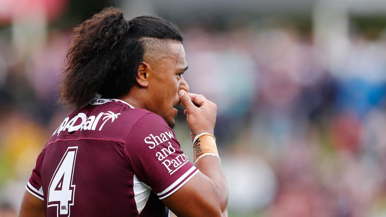 Moses Suli looks on during Manly's clash with the Storm last year