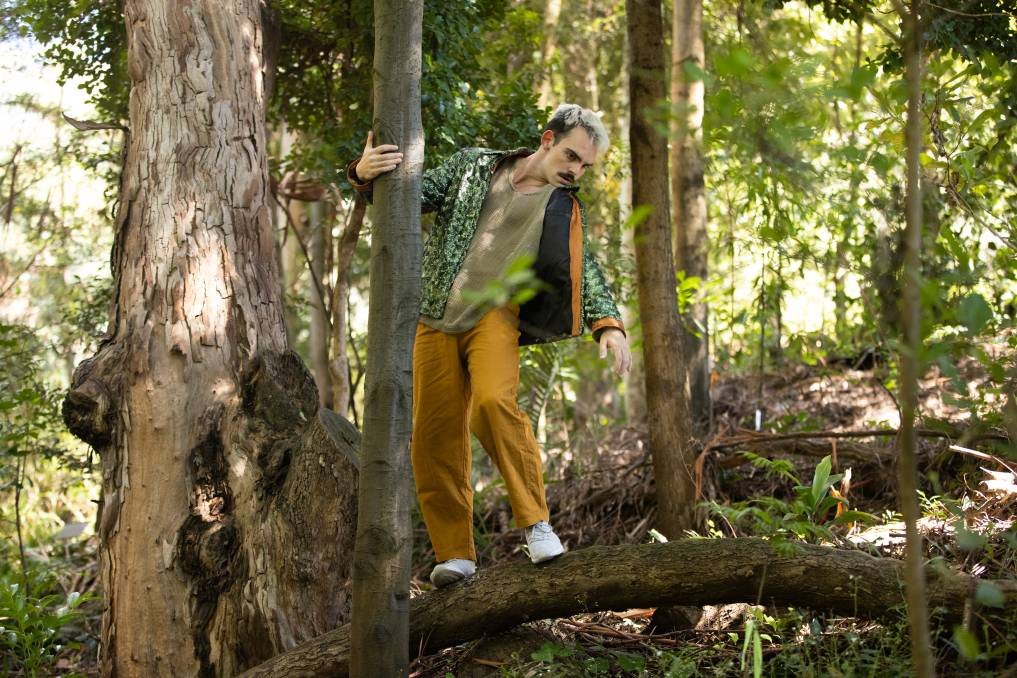 Ryan Stone performs Dance to poetry in the Australian National Botanic Gardens. Picture: Keegan Carroll