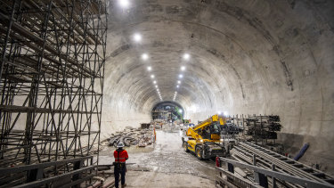 Construction of Victoria Cross Station, 31 metres below ground level, in the heart of the North Sydney business district, part of stage 2 of Sydney' Metro's plan to build 66km of metro rail across Sydney by 2024. It is the biggest urban rail project in Australian history.