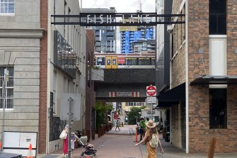 Under the rail line, South Brisbane's Fish Lane has been transformed from a formerly industrial area.