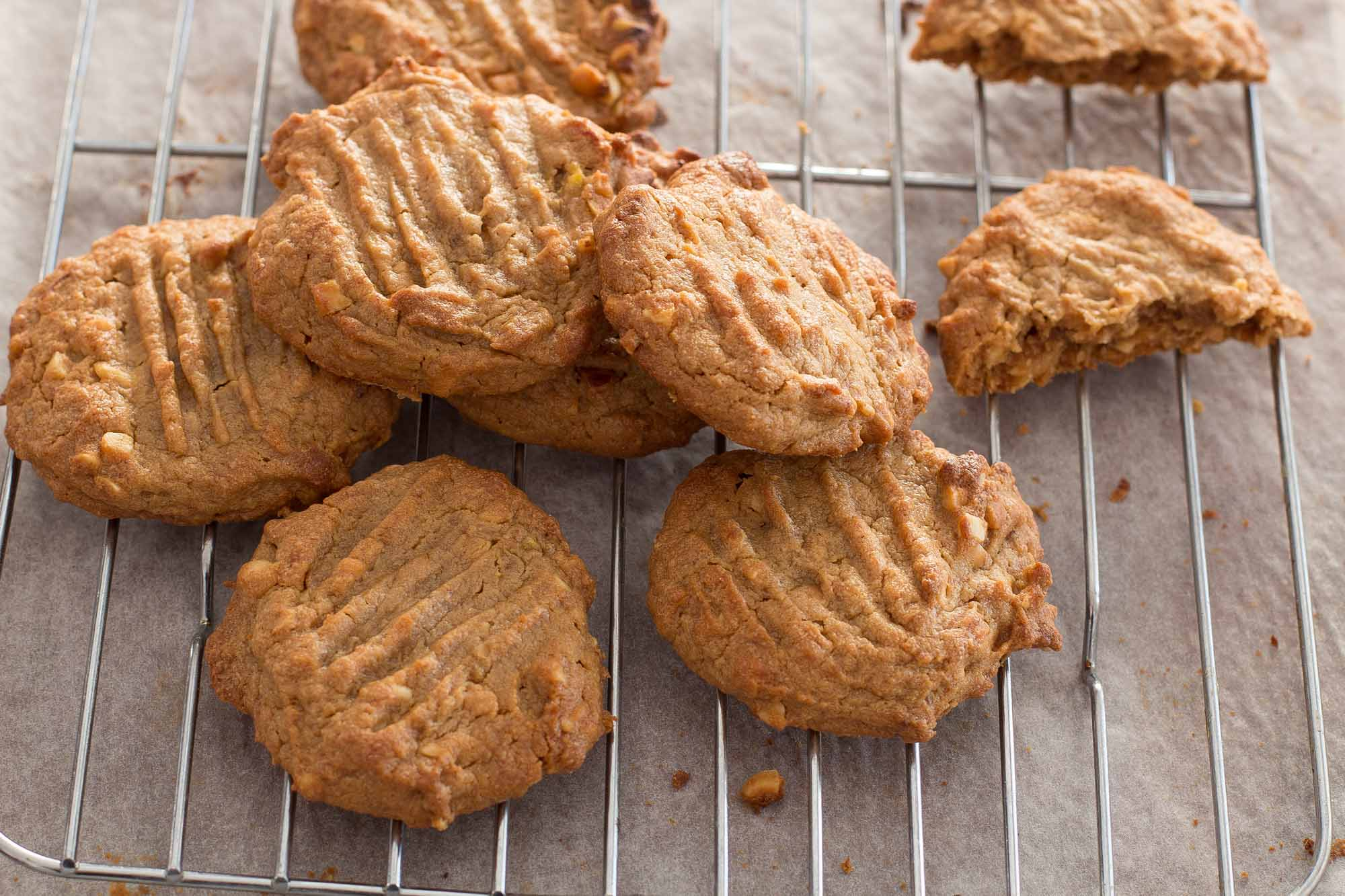 banana Peanut Butter cookies on a rack