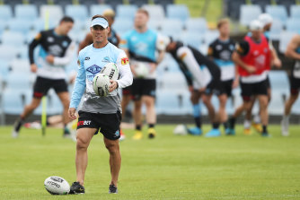 Ex-Sharks coach John Morris running a session last year.