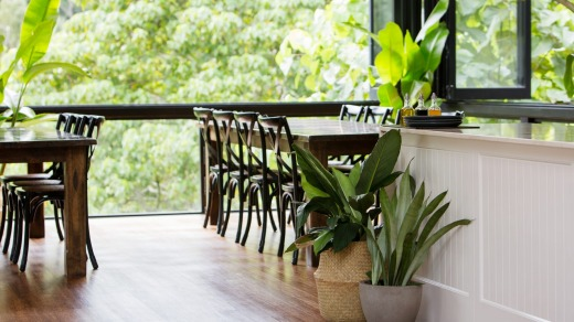 The airy dining room at Eden Health Retreat.