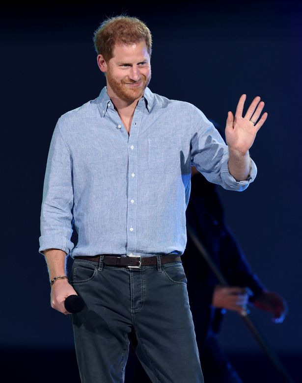 Prince Harry, Duke of Sussex, speaks onstage during Global Citizen VAX LIVE: The Concert To Reunite The World at SoFi Stadium in Inglewood, California