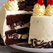 Close up of a slice of Black Forest Cake ready to be served