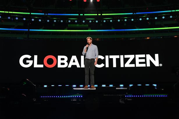 Prince Harry, Duke of Edinburgh speaks onstage during Global Citizen VAX LIVE: The Concert To Reunite The World at SoFi Stadium in Inglewood, California